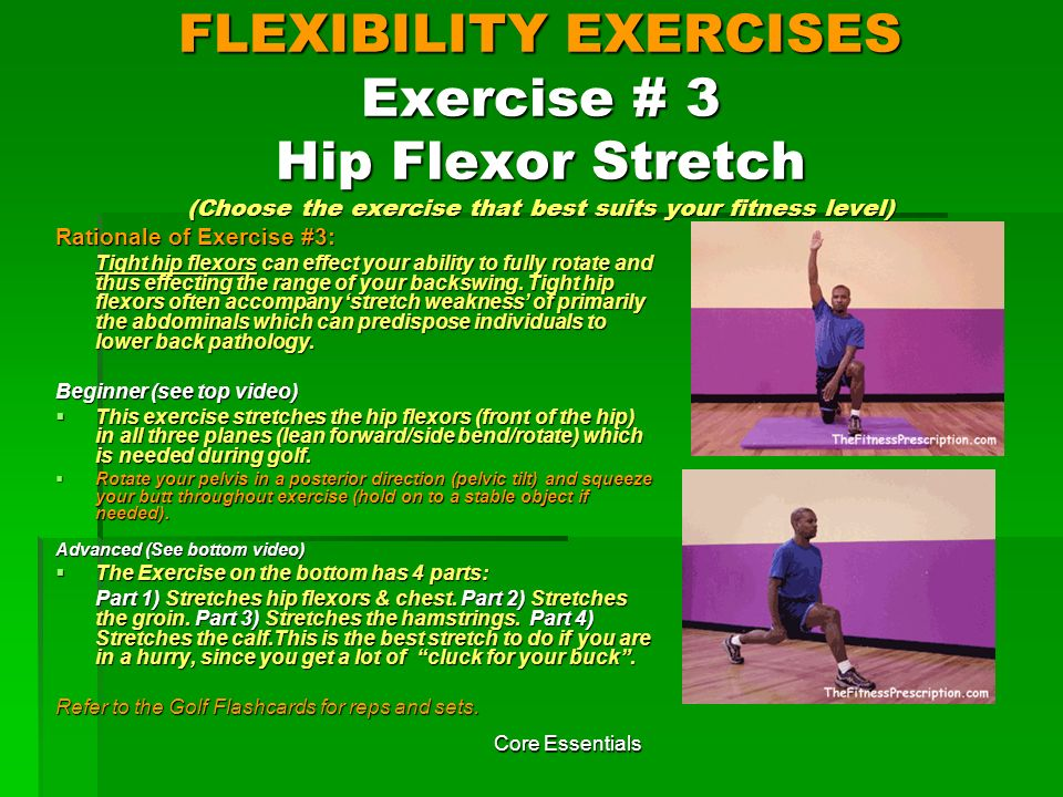 FLEXIBILITY EXERCISES Exercise # 3 Hip Flexor Stretch (Choose the exercise that best suits your fitness level)