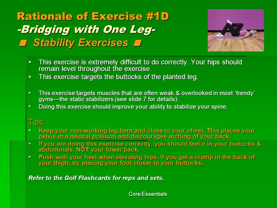 Rationale of Exercise #1D -Bridging with One Leg- < Stability Exercises <