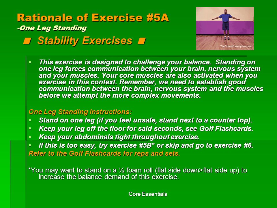 Rationale of Exercise #5A -One Leg Standing < Stability Exercises <