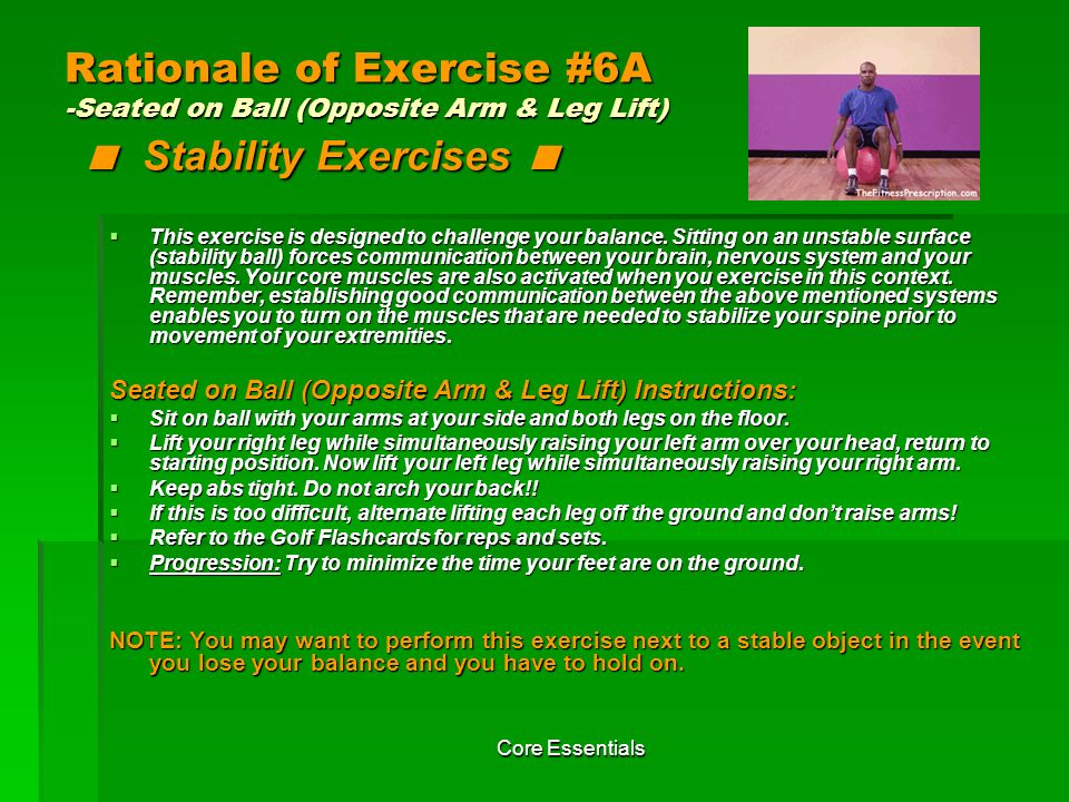 Rationale of Exercise #6A -Seated on Ball (Opposite Arm & Leg Lift) < Stability Exercises <