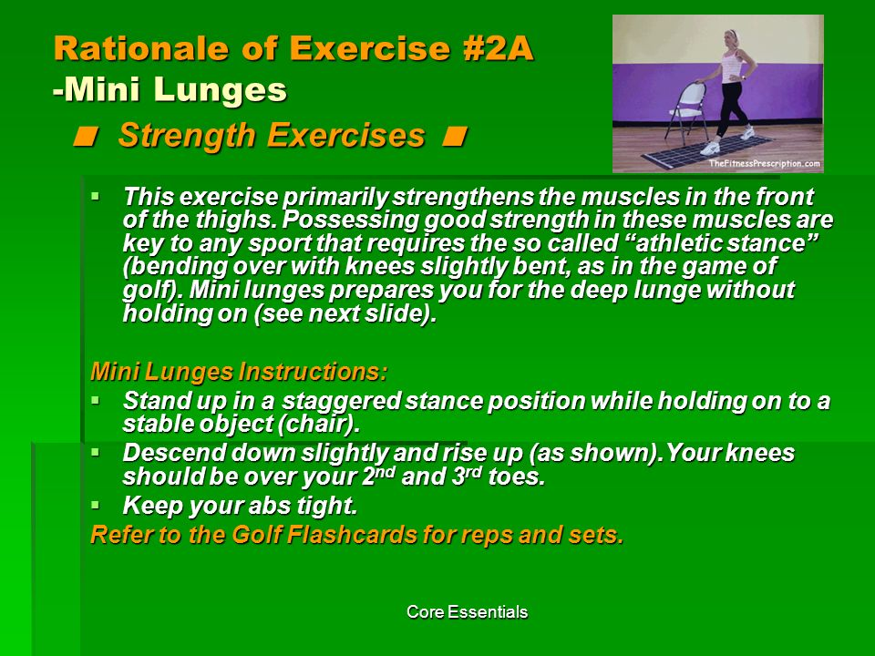 Rationale of Exercise #2A -Mini Lunges < Strength Exercises <