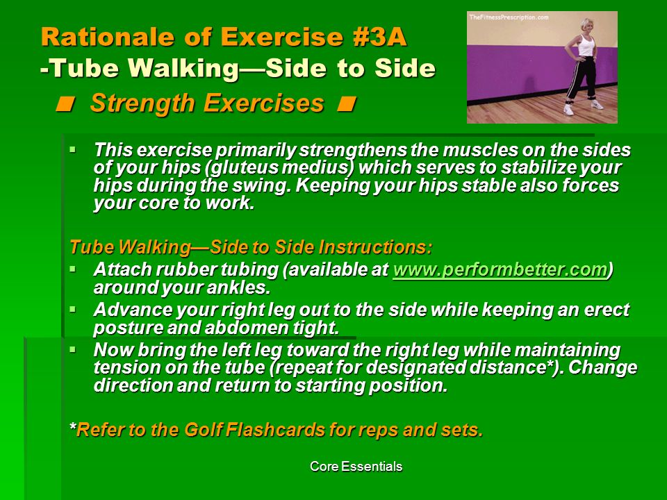 Rationale of Exercise #3A -Tube Walking—Side to Side < Strength Exercises <