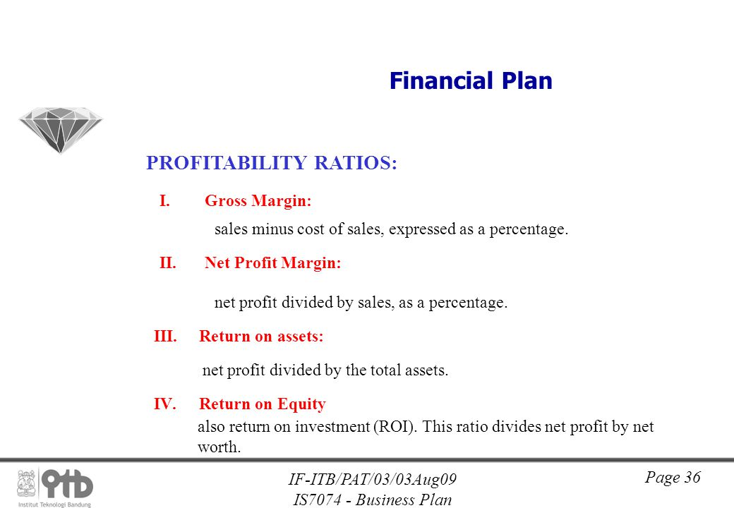 importance profitability ratios business plan