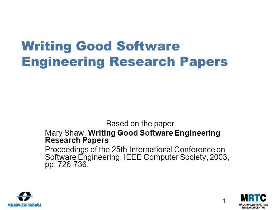 write software engineering research paper
