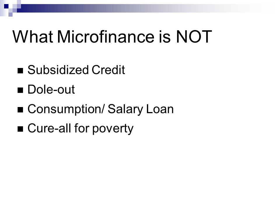 A description of microfinance services referred to the provision of microcredit services