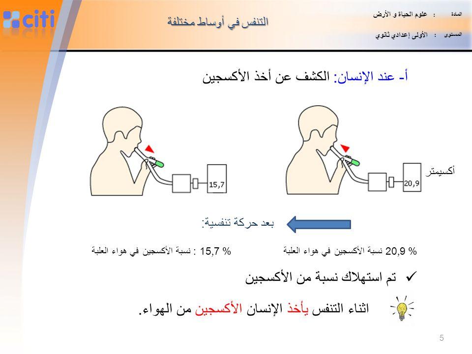 أ- عند الإنسان: الكشف عن أخذ الأكسجين