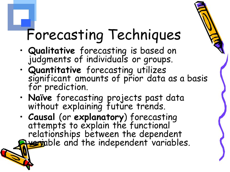 qualitative forecasting techniques Chapter 6 the hr forecasting  stronly favours quantitative techniques the most successful hr forecasting processes use both qualitative and.