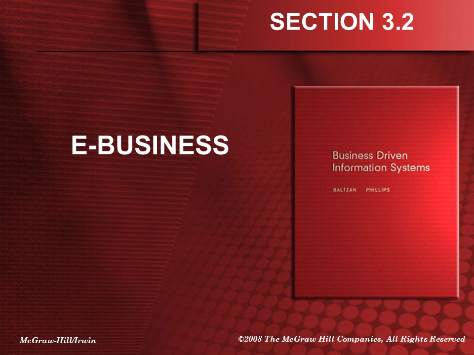 SECTION 3.2 E-BUSINESS