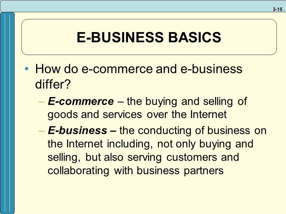 E-BUSINESS BASICS How do e-commerce and e-business differ