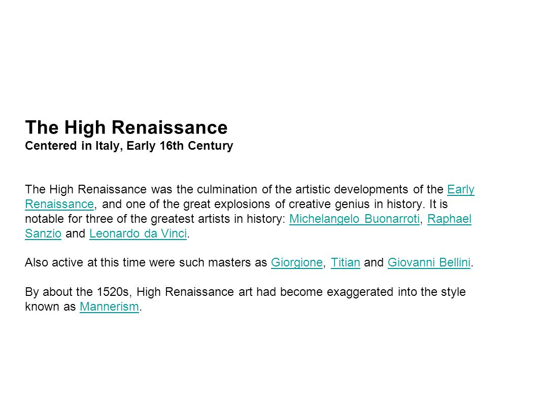 an introduction to the history of the high renaissance period A documentary about a period that change the world with new artists, inventions and more things: the renaissance.