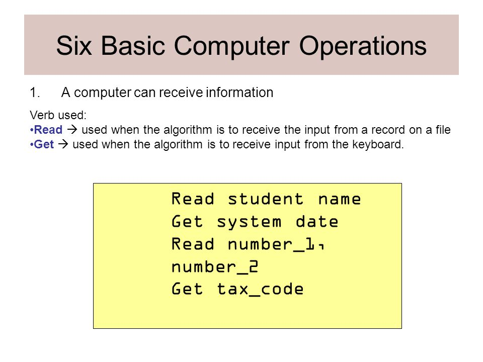 six basic computer operations essays Characteristics and basic operations of personal computer components introduction to personal computer and its components a personal computer (pc) is any general-purpose computer whose dimensions, capabilities, and initial sales price make it helpful for persons and which is proposed to be functioned exactly by an end client, with no .
