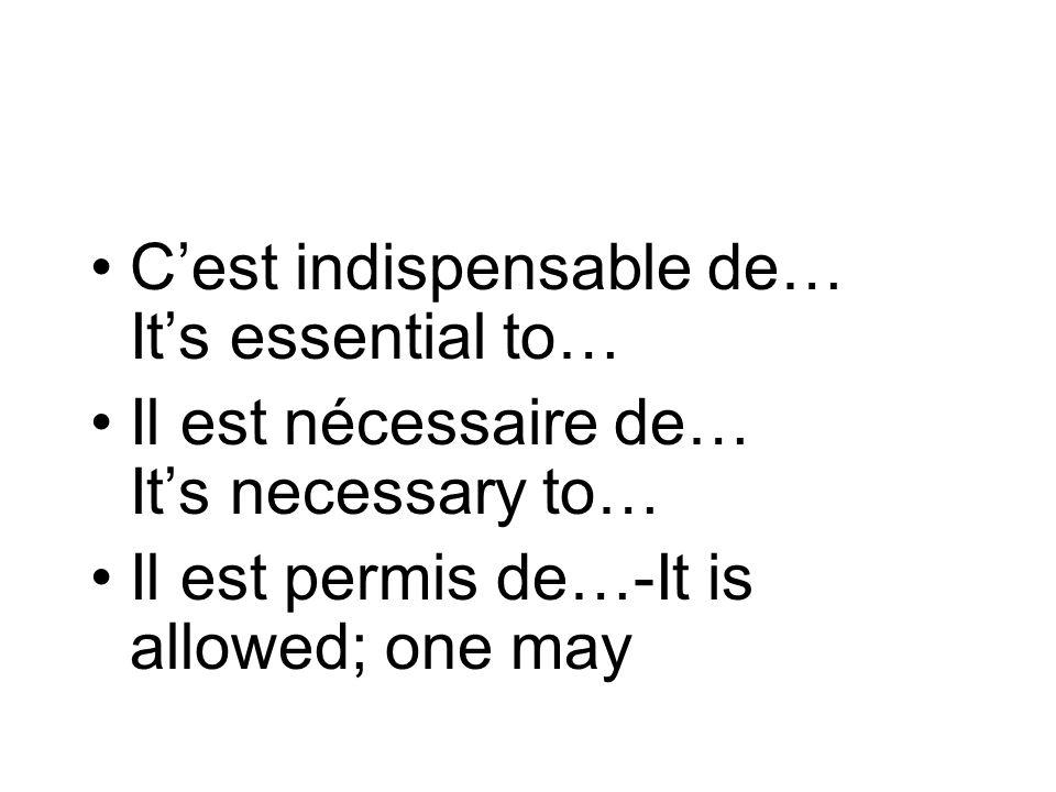 C'est indispensable de… It's essential to…