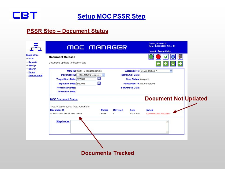PSSR Step – Document Status