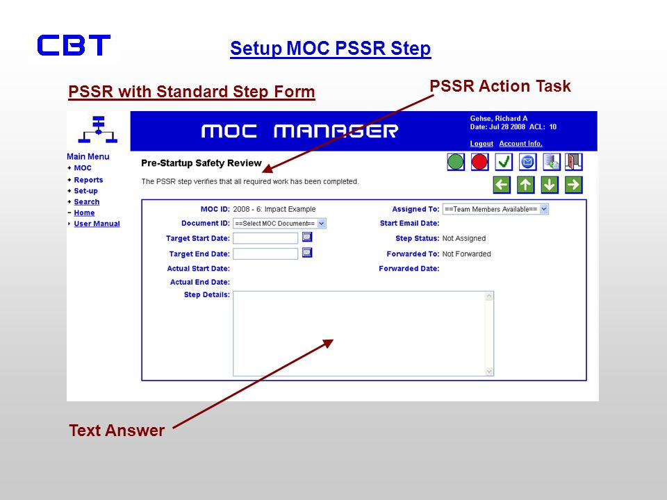 PSSR Action Task PSSR with Standard Step Form Text Answer