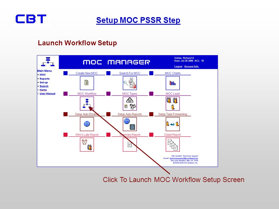 Launch Workflow Setup Click To Launch MOC Workflow Setup Screen