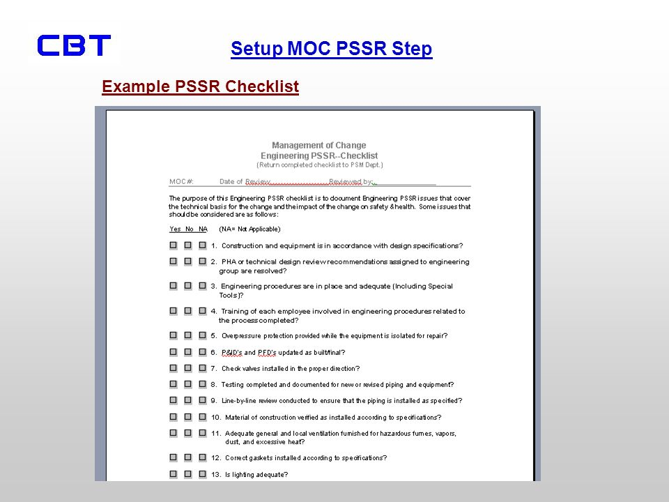Example PSSR Checklist
