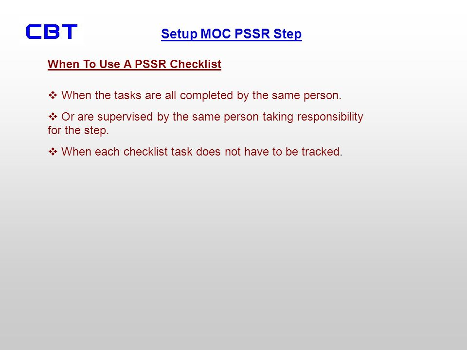 When To Use A PSSR Checklist