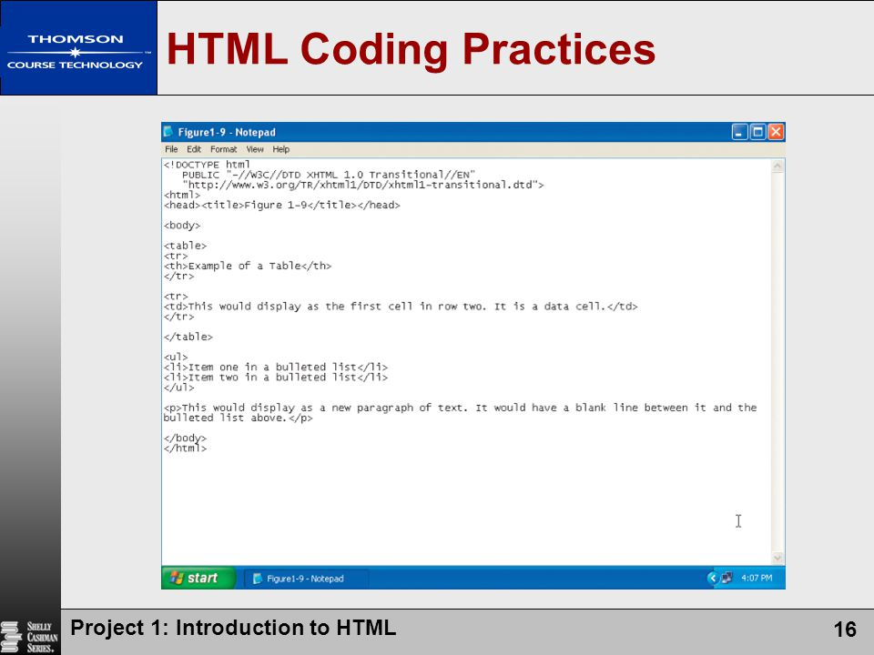 HTML Coding Practices Project 1: Introduction to HTML