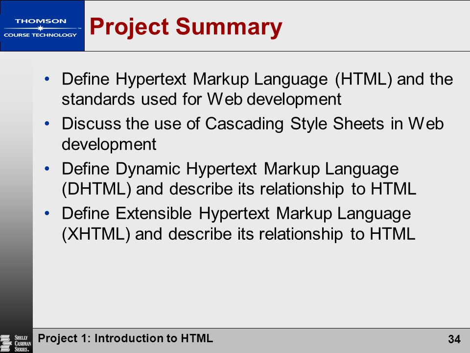 Project Summary Define Hypertext Markup Language (HTML) and the standards used for Web development.