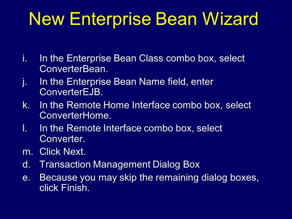 New Enterprise Bean Wizard