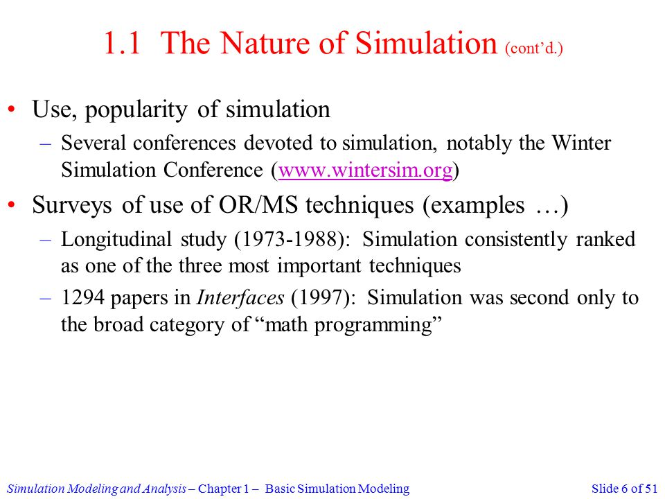 Simulation Math Examples