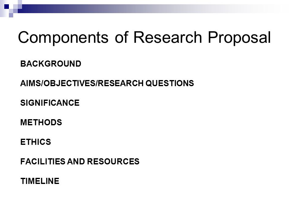 research proposal background The research proposal elements of research proposal by : mrs   is the part of the paper that provides readers with the background information for the research .