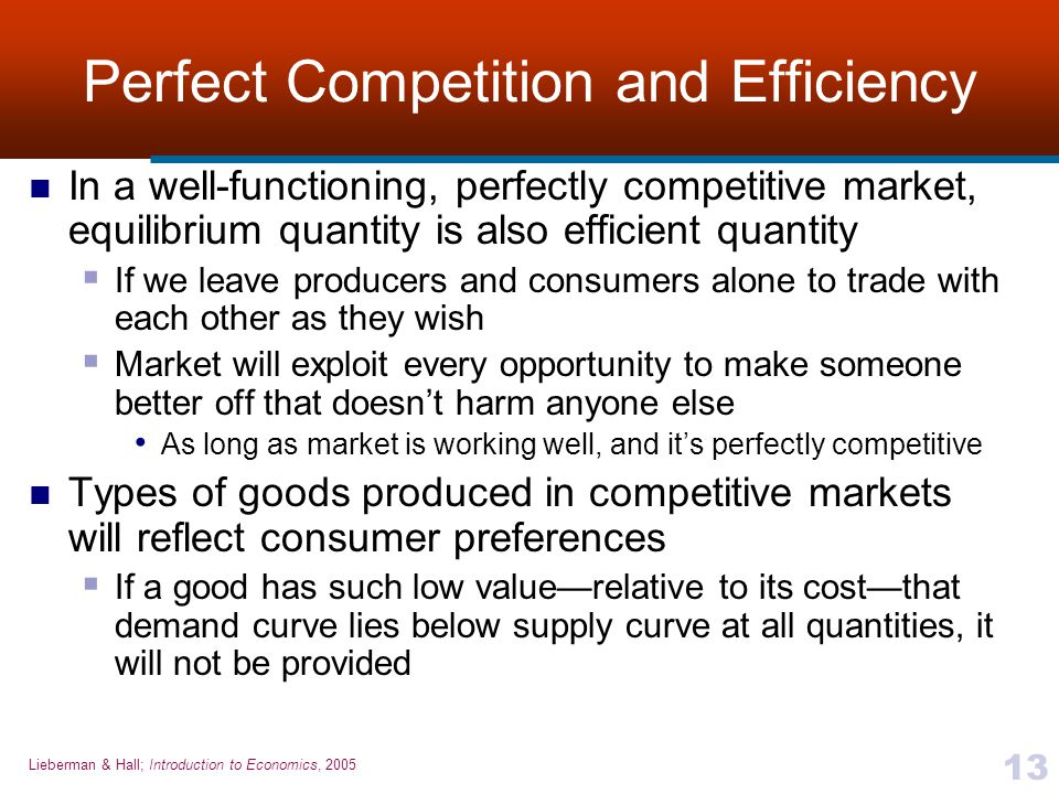 the efficiency of perfectly competitive economies In this short topic video we look at whether perfect competition leads to outcomes that are economically efficient  efficiency in perfectly competitive markets  3 types of economic.