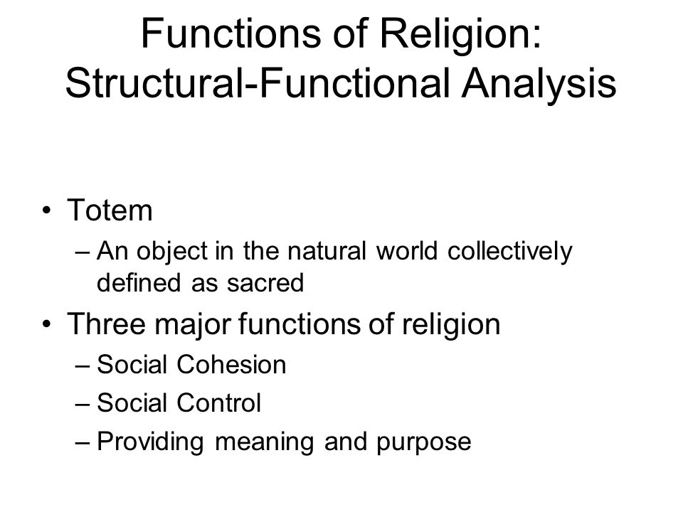 functions and dysfunctions of religion Get an answer for 'please give 2 examples of religious dysfunctions at a group  level' and find homework help for other religion questions at enotes.