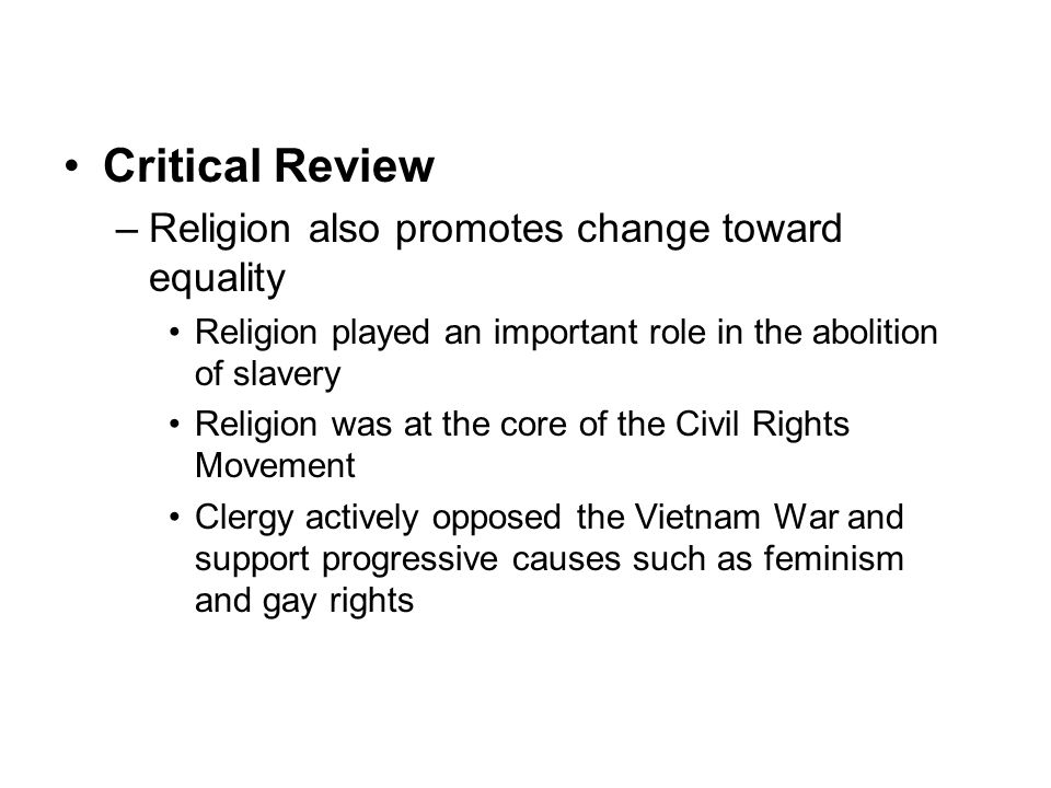 family and religion chapter ppt video online  critical review religion also promotes change toward equality