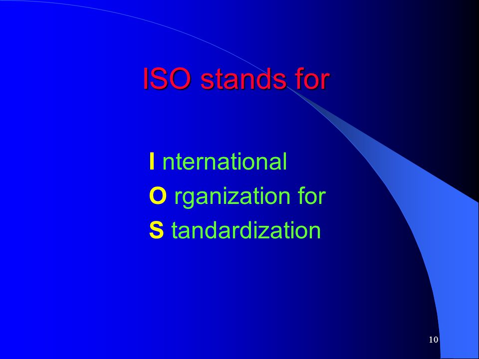 ISO stands for I nternational O rganization for S tandardization