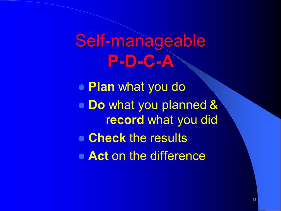 Self-manageable P-D-C-A