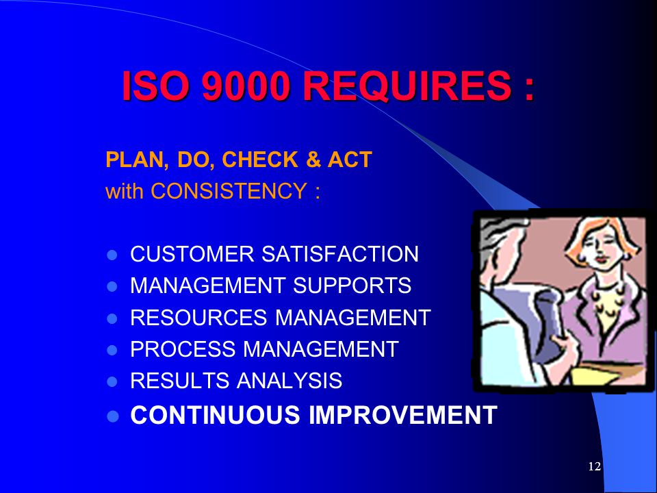 ISO 9000 REQUIRES : CONTINUOUS IMPROVEMENT PLAN, DO, CHECK & ACT