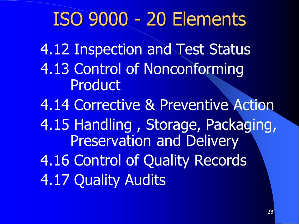 ISO 9000 - 20 Elements 4.12 Inspection and Test Status
