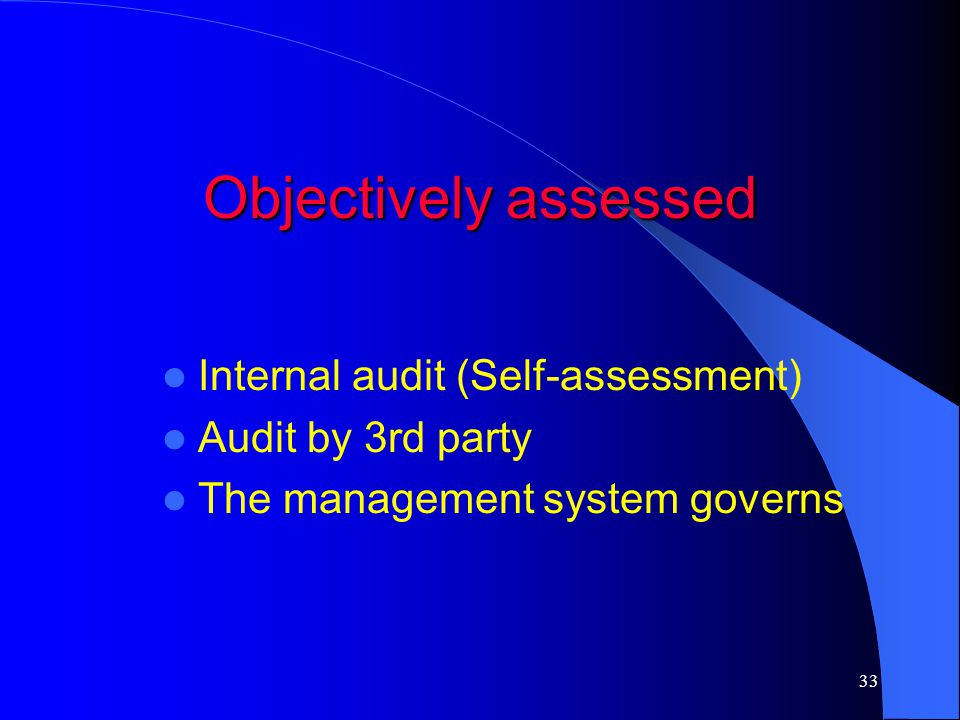 Objectively assessed Internal audit (Self-assessment)
