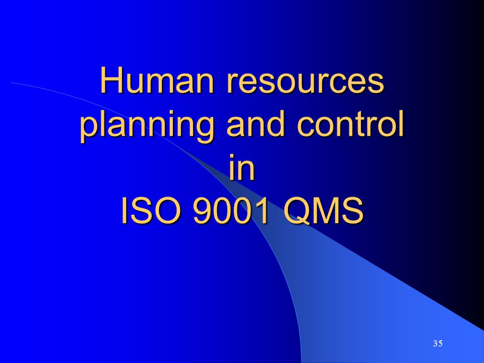 Human resources planning and control in ISO 9001 QMS