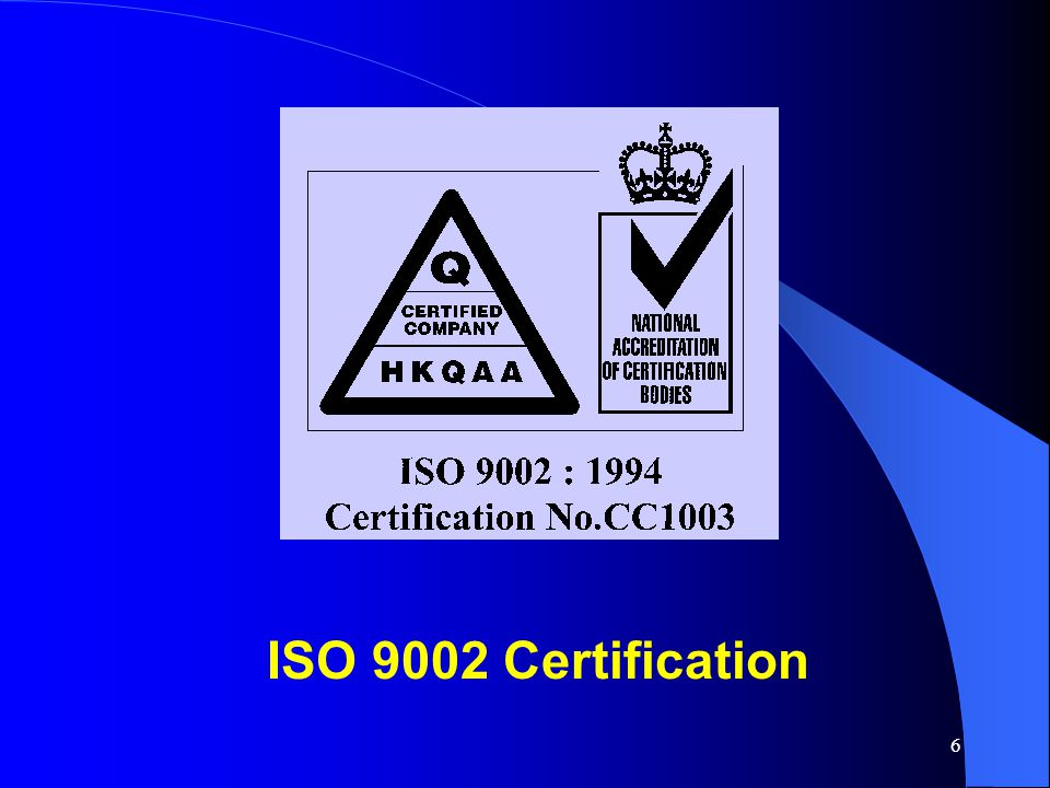 ISO 9002 Certification