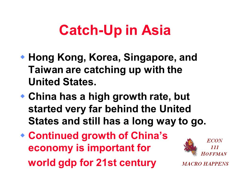 Catch-Up in Asia Hong Kong, Korea, Singapore, and Taiwan are catching up with the United States.