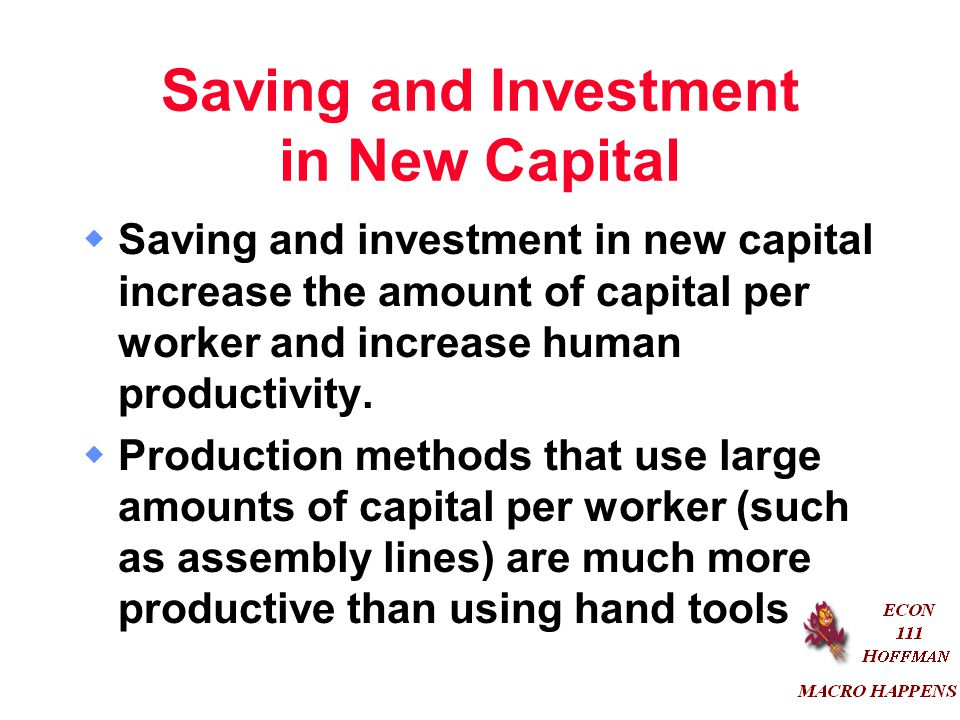 Saving and Investment in New Capital