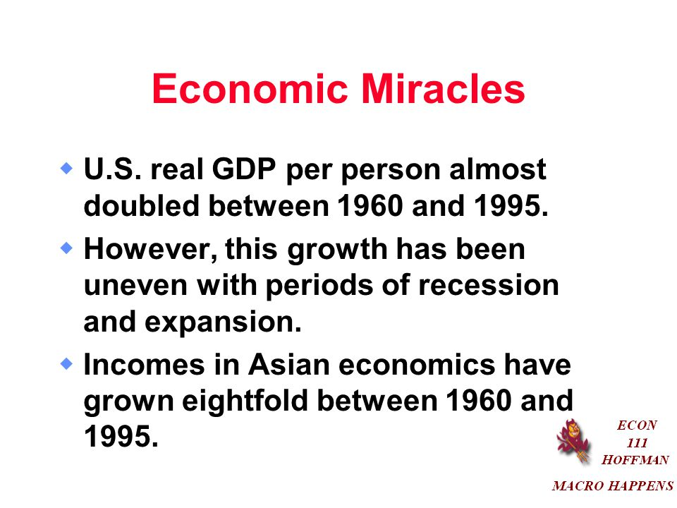Economic Miracles U.S. real GDP per person almost doubled between 1960 and