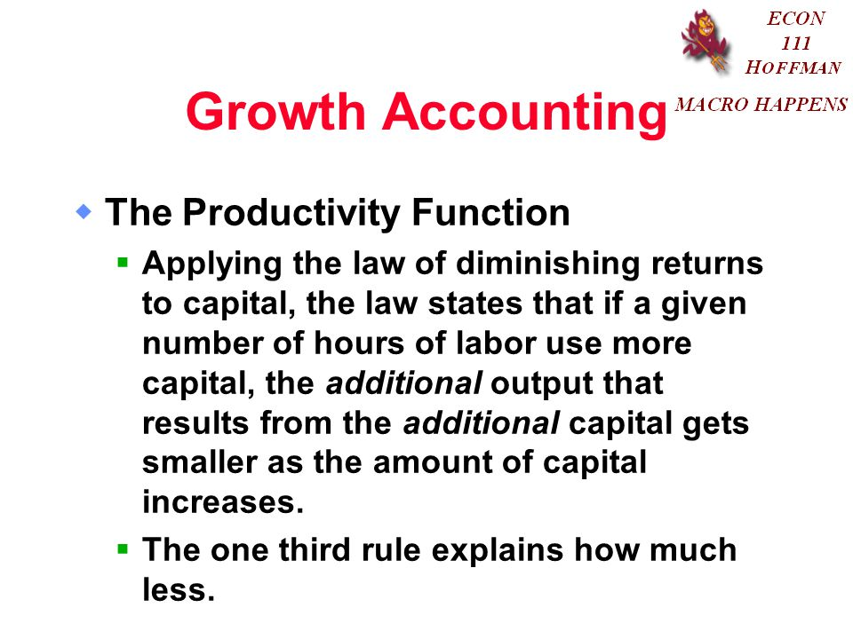 Growth Accounting The Productivity Function