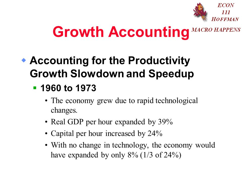 Growth Accounting Accounting for the Productivity Growth Slowdown and Speedup to The economy grew due to rapid technological changes.