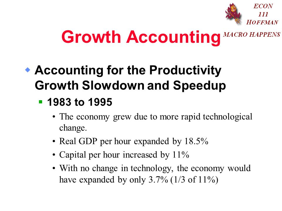 Growth Accounting Accounting for the Productivity Growth Slowdown and Speedup to