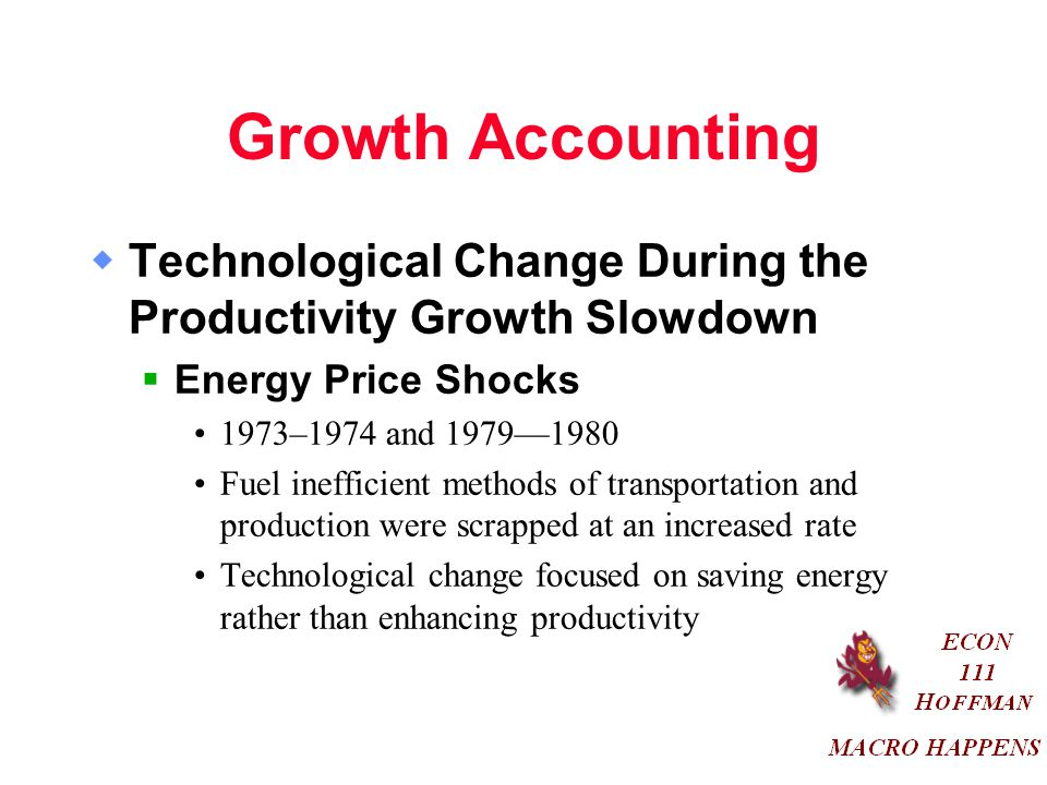 Growth Accounting Technological Change During the Productivity Growth Slowdown. Energy Price Shocks.