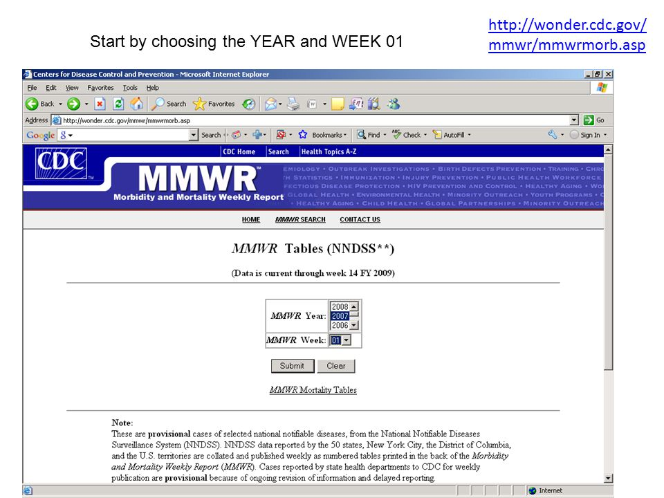 http://wonder.cdc.gov/mmwr/mmwrmorb.asp Start by choosing the YEAR and WEEK 01