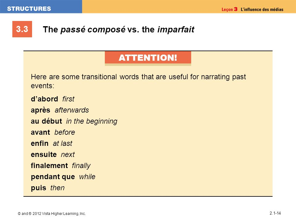 The passé composé vs. the imparfait