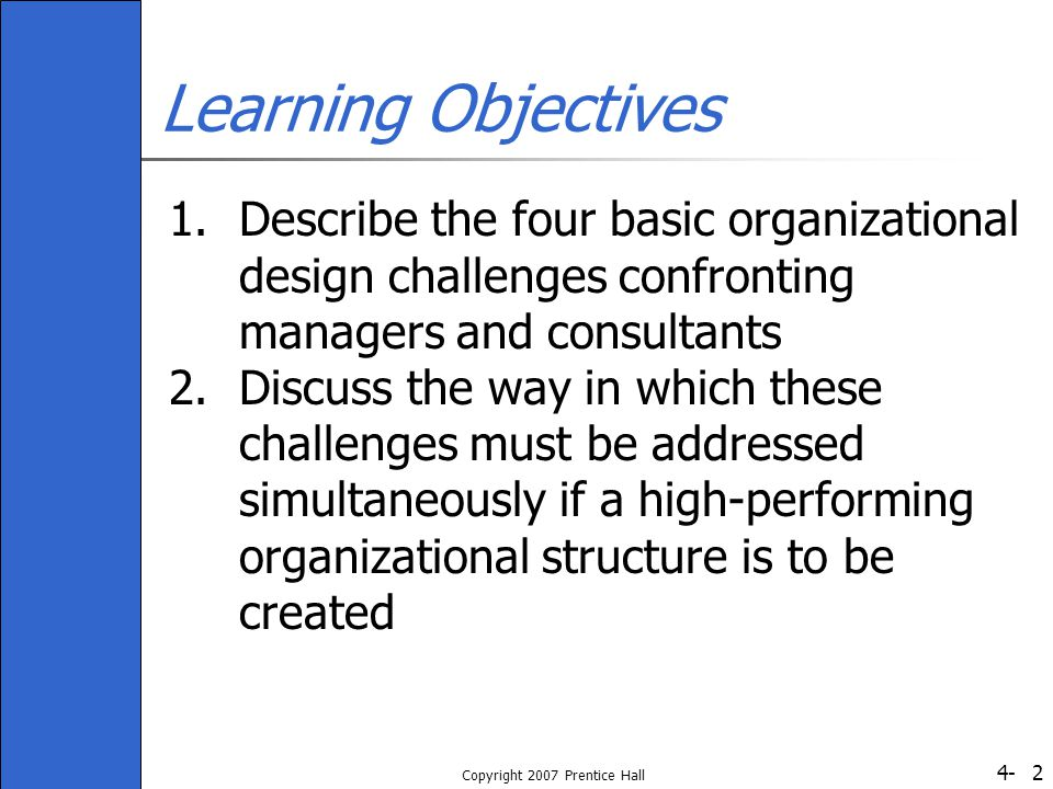 what are the four challenges of organizational design Challenges of organizational change planning and managing change, both cultural and technological factors affecting organizational design five approaches to.