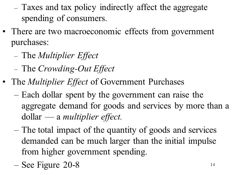 Taxes and tax policy indirectly affect the aggregate spending of consumers.