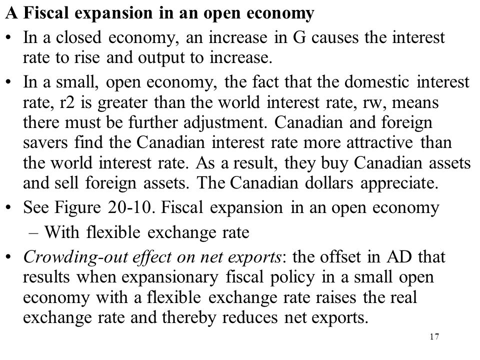 A Fiscal expansion in an open economy
