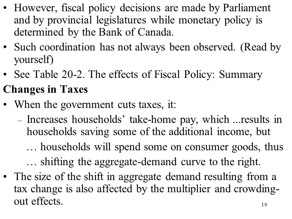 However, fiscal policy decisions are made by Parliament and by provincial legislatures while monetary policy is determined by the Bank of Canada.