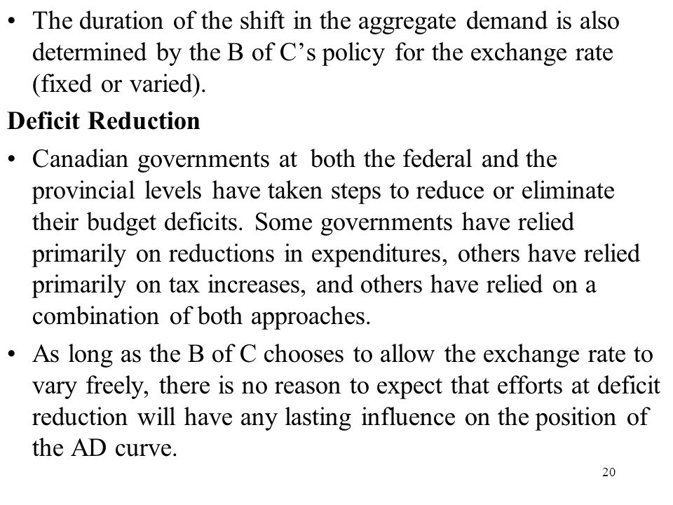 The duration of the shift in the aggregate demand is also determined by the B of C's policy for the exchange rate (fixed or varied).